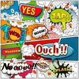 Humorboksidan som delas av linjer med anförande, bubblar, ljudeffekt Retro bakgrundsmodell Komikermall Arkivfoton