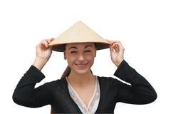 Humoristische foto van een meisje met kegelhoed stock afbeeldingen