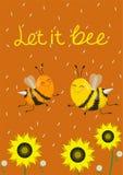 Humoristische kaart of druk op een t-shirt Twee leuke bijen op een oranje achtergrond Vector illustratie De titel liet het bij royalty-vrije illustratie
