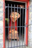Humoristische scène van opgesloten boeman, Halloween-viering, Bunratty-Kasteel, Oktober, 2014 Royalty-vrije Stock Afbeelding