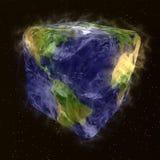 Humoristische transformatie van aarde met wolk Stock Afbeeldingen