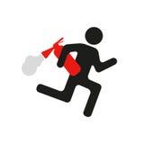 Humoristische waarschuwingsbordmens met brandblusapparaat Royalty-vrije Stock Foto's