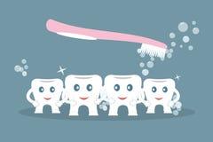 Humoristiskt begrepp som borstar tänder Gulliga tecknad filmstiltänder som tvättar sig av den rosa tandborsten som rymmer händer  royaltyfri illustrationer