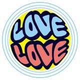 Humoristiskt emblem med ord & x22; love& x22; vektor illustrationer