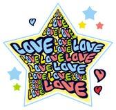 Humoristiskt emblem med ord & x22; love& x22; stock illustrationer