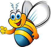 Humorous bee. Humorous flying bee with blue and yellow stripes Stock Photos