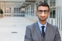 Humorous businessman wearing a disguise Stock Photography