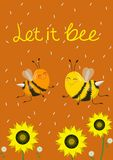 Humorous card or print on a t-shirt. Two cute bees on an orange background. Vector illustration. Caption let it bee royalty free illustration