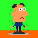 Sad and bald. A humorous cartoon illustration of a sad man with falling hair Stock Photo