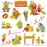 Humorous characters tested at customs. Caricature, humorous characters with money, weapons, food, alcohol, tobacco, antiques tested at customs control on the Stock Images