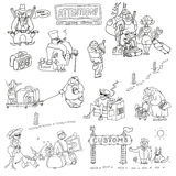 Humorous characters tested at customs control. Humorous caricature characters with money, weapons, food, alcohol, tobacco, antiques tested at customs control Stock Image