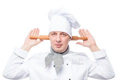 humorous chef with a wooden rolling pin on a white Royalty Free Stock Photography
