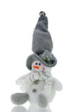 Humorous Christmas Decoration Snowman. Humorous cuddly Christmas decoration snowman over white Royalty Free Stock Images