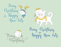 Humorous Christmas and New Year greetings with cute kittens Royalty Free Stock Image