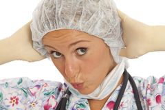 Humorous close-up portrait of young nurse Stock Photography