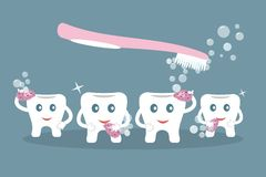 Humorous concept brushing teeth. Cute cartoon style teeth wash with purple sponges,soap bubbles and pink toothbrush on blue stock illustration