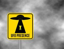 Humorous danger road signs for UFO, aliens abduction theme, vector illustration. Background of dark grey sky with cumulus clouds a. Nd yellow road sign with text Vector Illustration