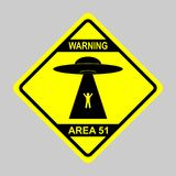 Humorous danger road signs for UFO, aliens abduction theme, vector illustration. Yellow road sign with text Warning Area 51. vector illustration