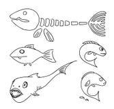 Humorous drawing fish. Humorous drawing fishes set. Illustration Vector Illustration