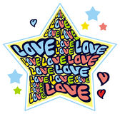 Humorous emblem with word 'love'. Original custom hand lettering. Design element for greeting cards, invitations, prints.  Raster clip art Royalty Free Stock Photos