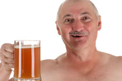 Humorous emotional portrait adult man with a beer in hand. Isolated on white background stock photo