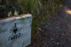 I Hear Sweeds, Paihia, New Zealand. Humorous graffiti on a bench in Paihia, Northland, New Zealand, Aotearoa. `I Love Weed` `I love Swedes Stock Photo