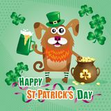 Humorous greeting card for St. Patrick`s Day with a dog in a gre. Humorous greeting card for St. Patrick`s Day with cartoon funny dog in green hat of a Stock Images