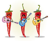 Humorous image of three Mexican chilli playing the guitar Royalty Free Stock Photos