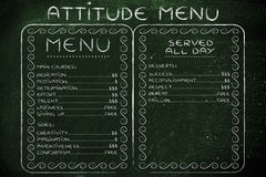 Humorous menu with possible attitudes choices and the effort (or Royalty Free Stock Photos