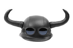Humorous motorcycle helmet with horns. On a white background Royalty Free Stock Photos
