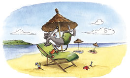 Humorous mouse at the beach. Humorous watercolor of unlucky mouse at the beach: a crab is biting his tail Stock Image