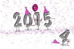 Humorous new year 2015. Humorous illustration for the new year 2015 with party confetti Stock Photos