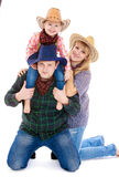 Humorous photo dad mom and little girl in costume Royalty Free Stock Image