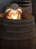 Humorous Photo of a Girl in a Barrel. Dramatically lit portrait of a young cowgirl lit from the inside of a barrel with a surprised expression on her face Royalty Free Stock Photography
