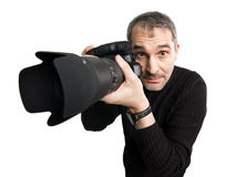 Humorous photographer stock photo