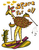 Humorous picture ostrich skiing in the desert Stock Images