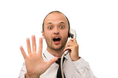 Humorous portrait business man with shower in hand Stock Photo