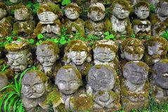 Humorous rakan. Stone rakan , Buddha statues with funny humorous faces partially covered by greenery Stock Image