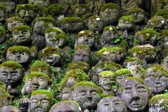 Humorous rakan. Stone rakan , Buddha statues with funny humorous faces partially covered by greenery Royalty Free Stock Photos