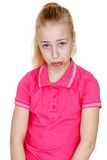 Humorous, sad teen , close-up. Isolated on white background Royalty Free Stock Photos
