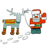 Humorous Santa and Reindeer on Wheels Royalty Free Stock Photo