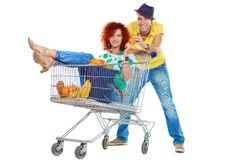 Humorous shopping Royalty Free Stock Photos