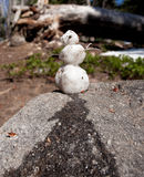 Humorous snowman melting. Small snowman on granite rock is melting in the warm sunshine royalty free stock images