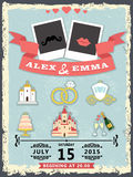Humorous wedding invitation with cartoon icons Stock Photography