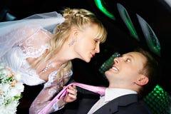 Humorvolle Abbildungbraut und -bräutigam Stockfotos