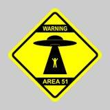 Humorvolle Gefahrenverkehrsschilder für UFO, Ausländerabduktionsthema, Vektorillustration Gelbes Verkehrsschild mit Text warnende vektor abbildung