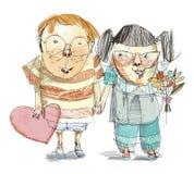 Humorvolle Nerdy Kinder Valentine Illustration Lizenzfreie Stockfotos