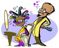 Humorvoller Coiffeur, Karikaturart Stockbild