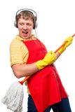 Humorystycznej fotografii męska gospodyni domowa z kwaczem Zdjęcia Stock