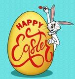 humorystyczny obrazek na wielkanocy Królik maluje jajko z powitaniem ilustracja wektor